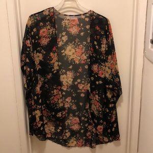 Black and orange floral print kimono XL